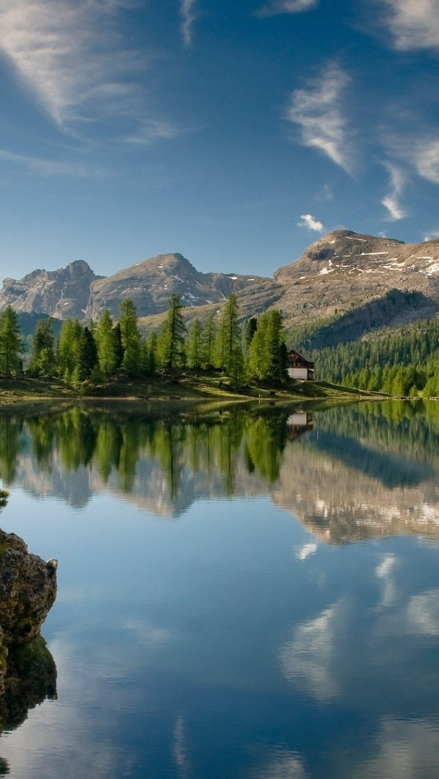 山水 风景 蓝天 白云 苹果手机高清壁纸 640x1136