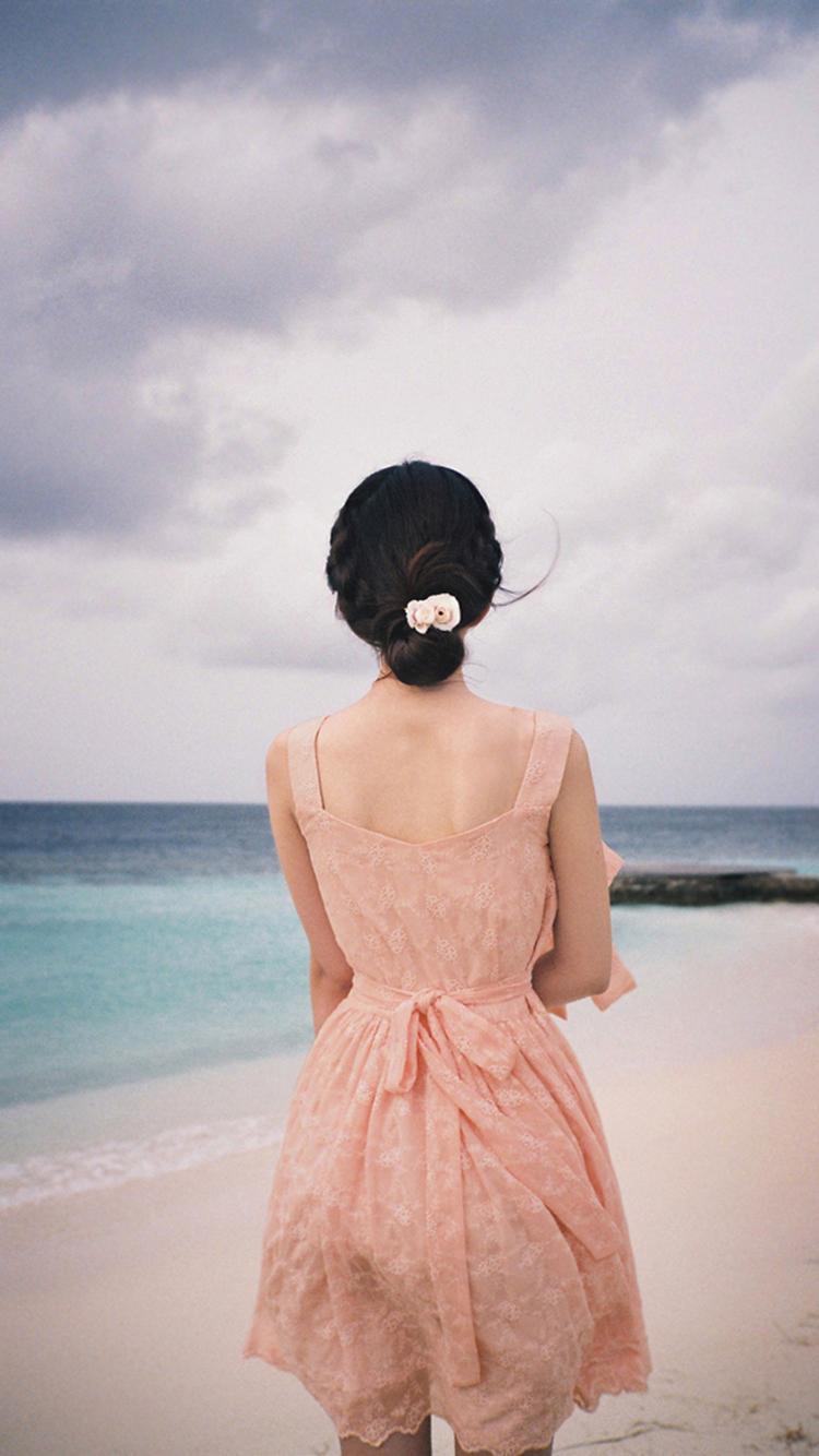 背影 清純 粉色 裙子 唯美 蘋果手機高清壁紙 750x