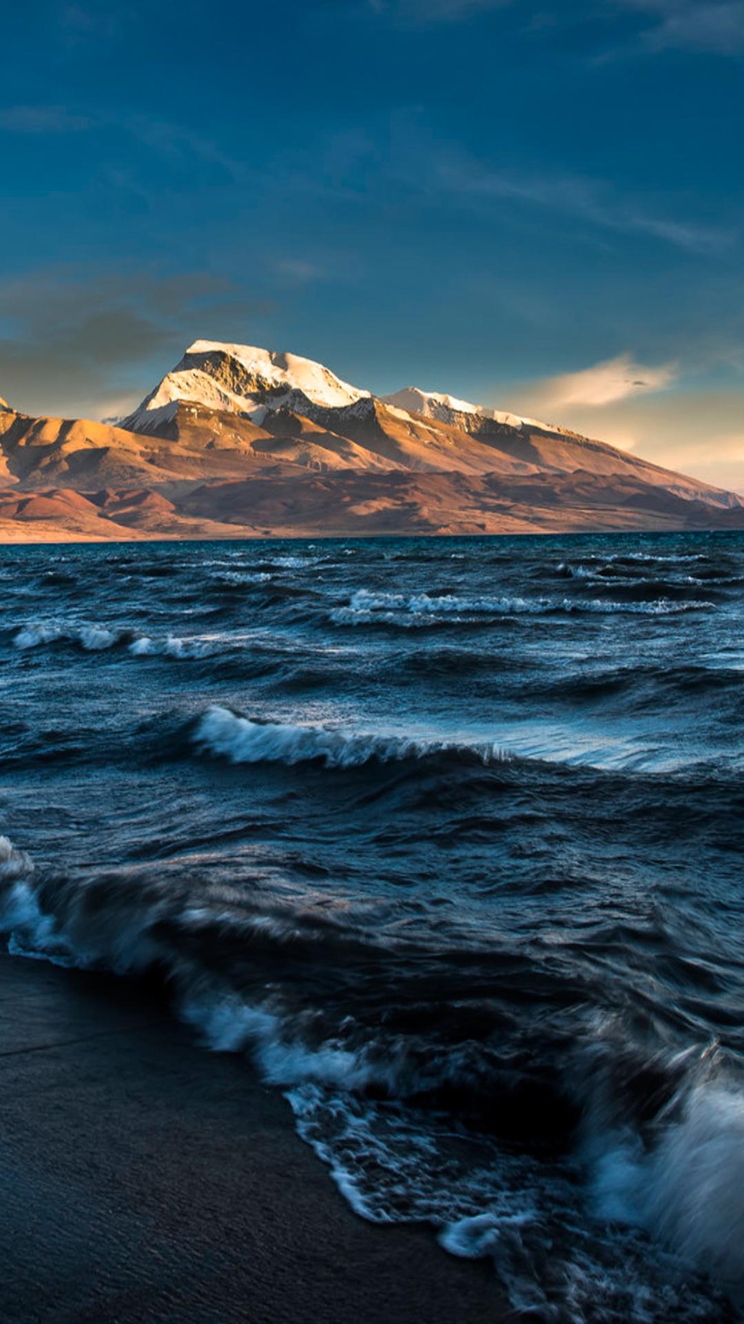 海浪 雪山 天空 大海 苹果手机高清壁纸 1080x1920