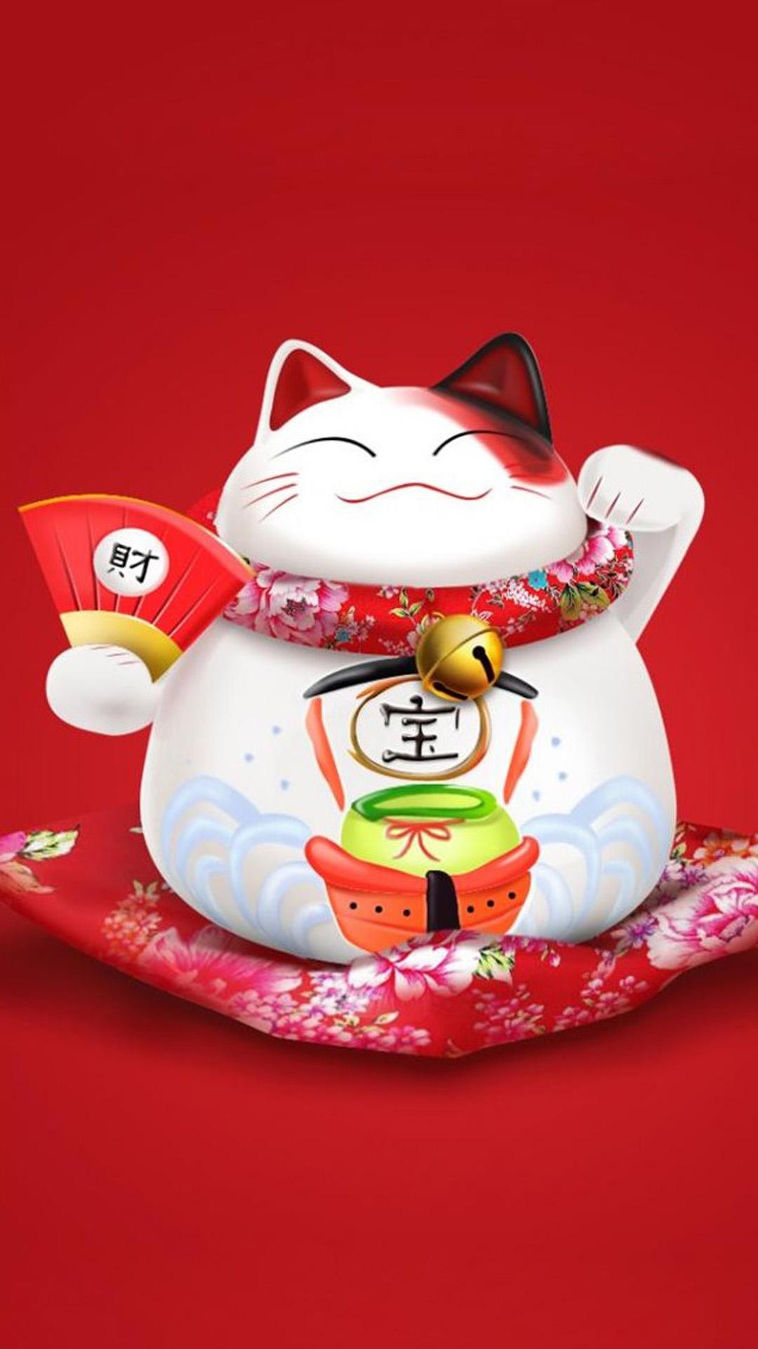 招财猫 陶瓷摆件 红色 苹果手机高清壁纸 1080x1920