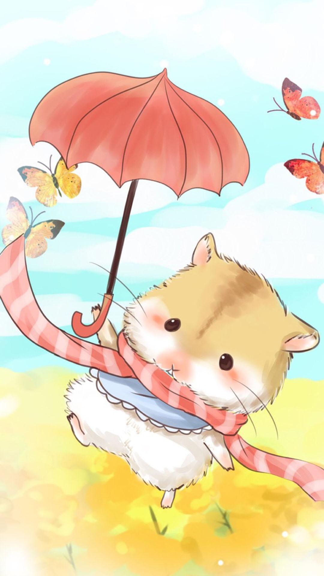 手绘 可爱小仓鼠 苹果手机高清壁纸 1080x1920