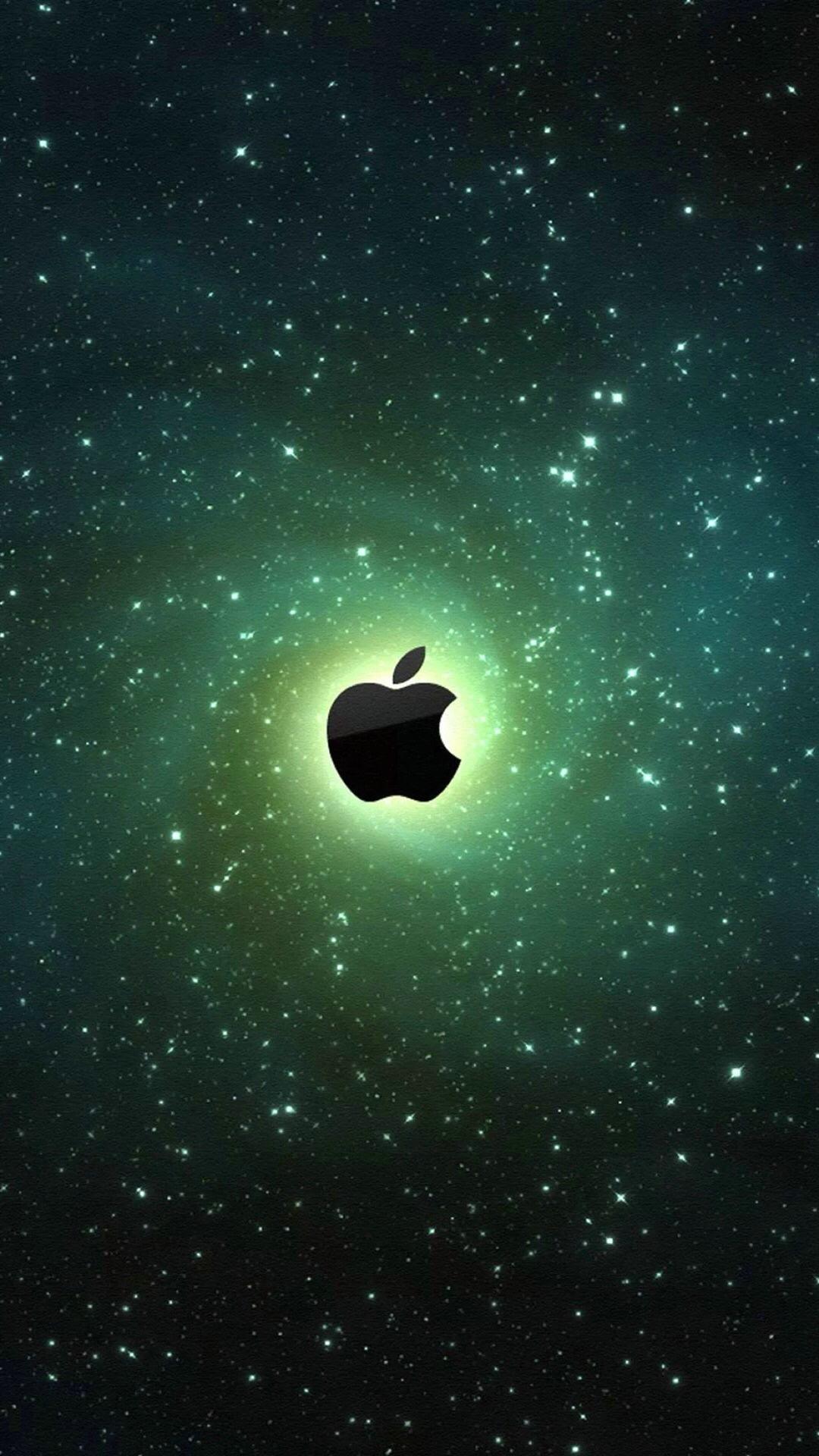 苹果logo 宇宙 绿色 苹果手机高清壁纸 1080x1920