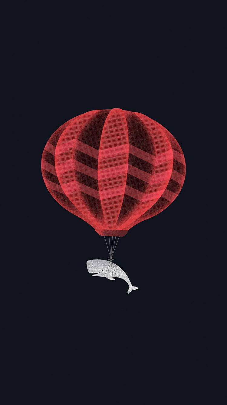 黑色 纯色 鲸鱼 热气球 创意 苹果手机高清壁纸 750x