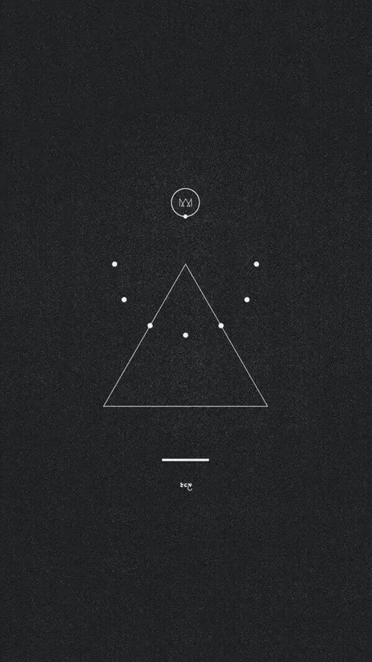 简笔画 三角形 圆形 黑色背景壁纸 苹果手机高清壁纸