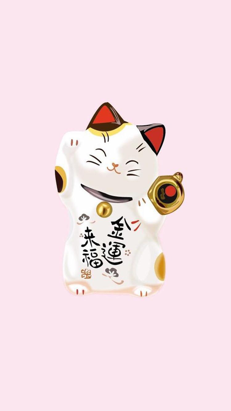 粉色背景 招财猫 金运来福 苹果手机高清壁纸 750x