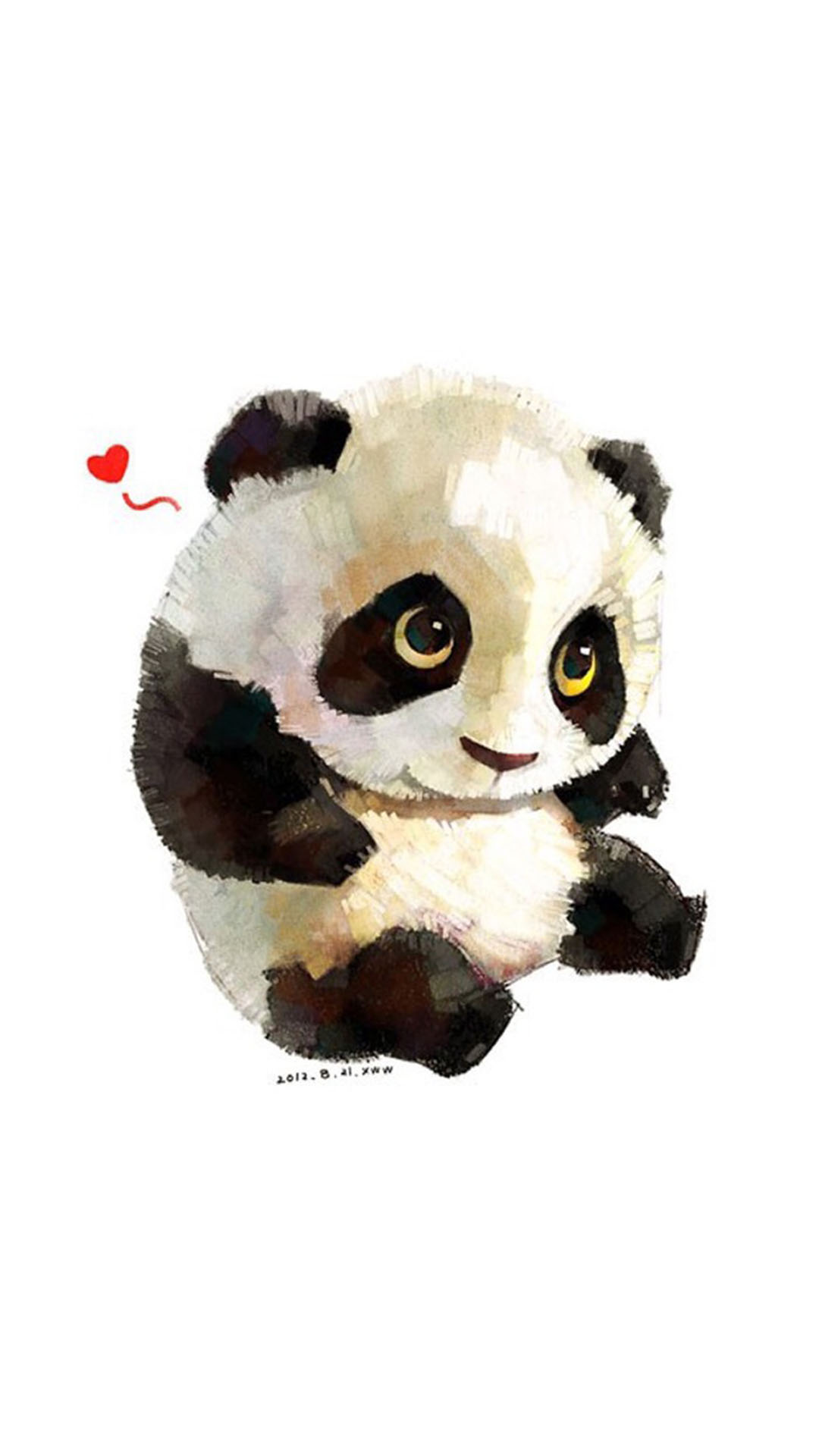 白色背景 可爱的手绘熊猫 爱心 苹果手机高清壁纸 x