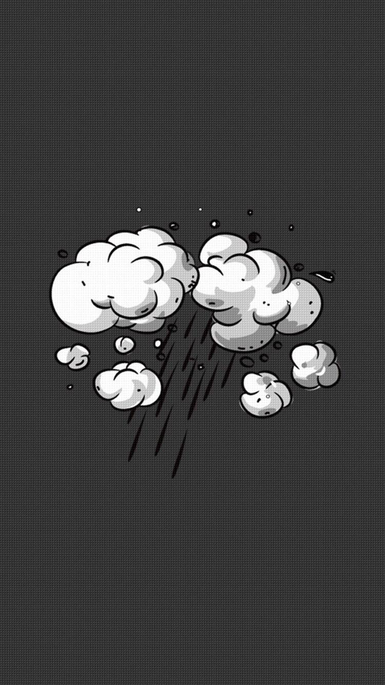 黑色格子背景 手绘云朵 下雨 苹果手机高清壁纸 750x