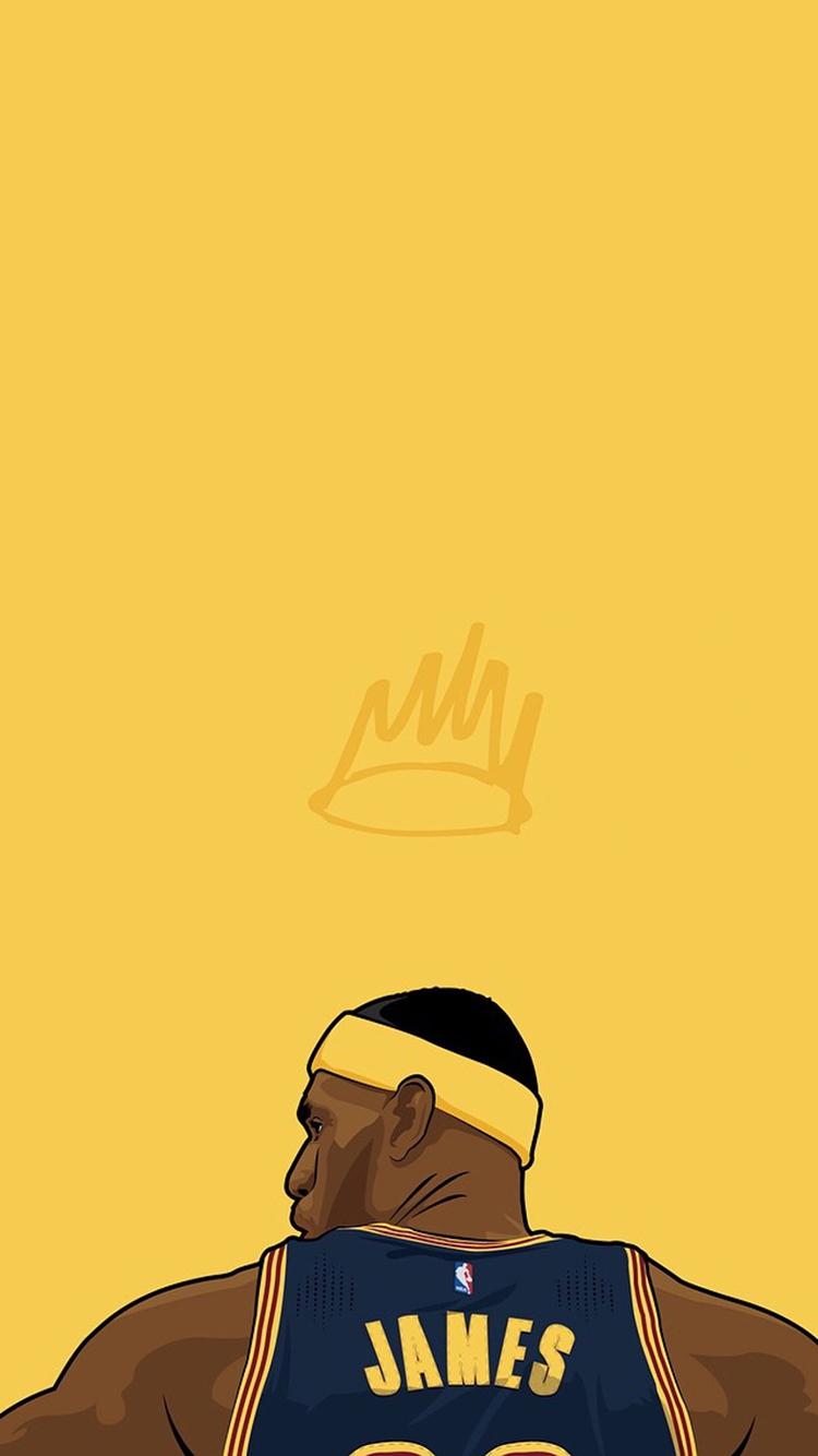 詹姆斯 手绘 背影 黄色 篮球 运动员 体育 苹果手机 x