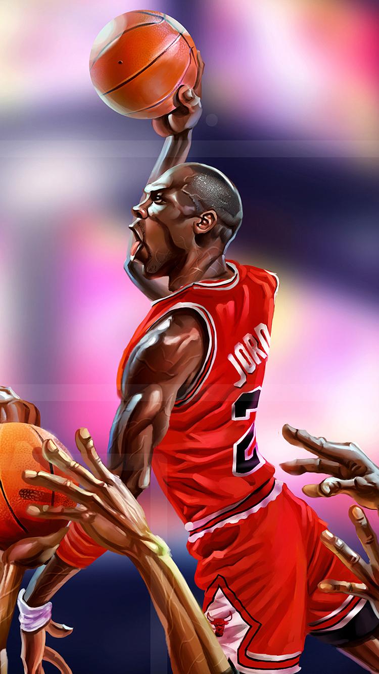漫畫 創意 喬丹 nba 籃球 蘋果手機高清壁紙 750x1334