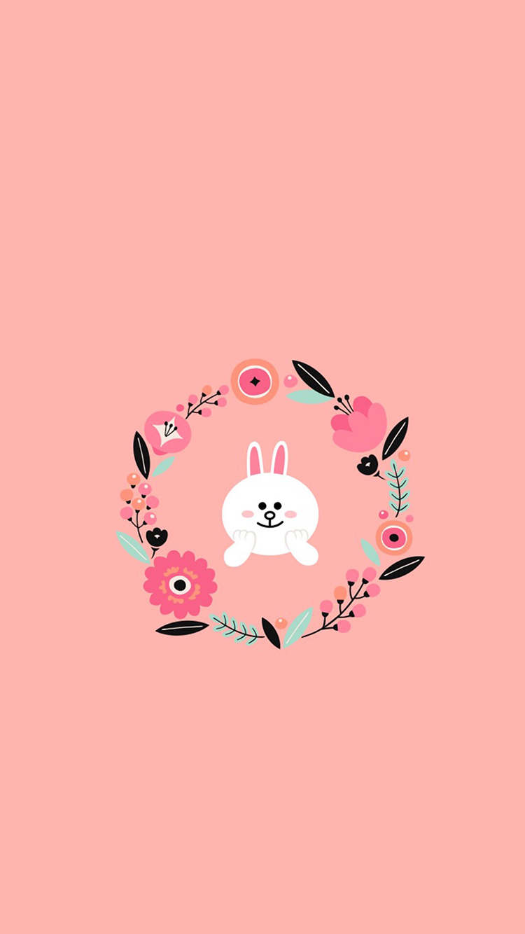 可妮兔 粉色 卡通 花環 蘋果手機高清壁紙 750x1334