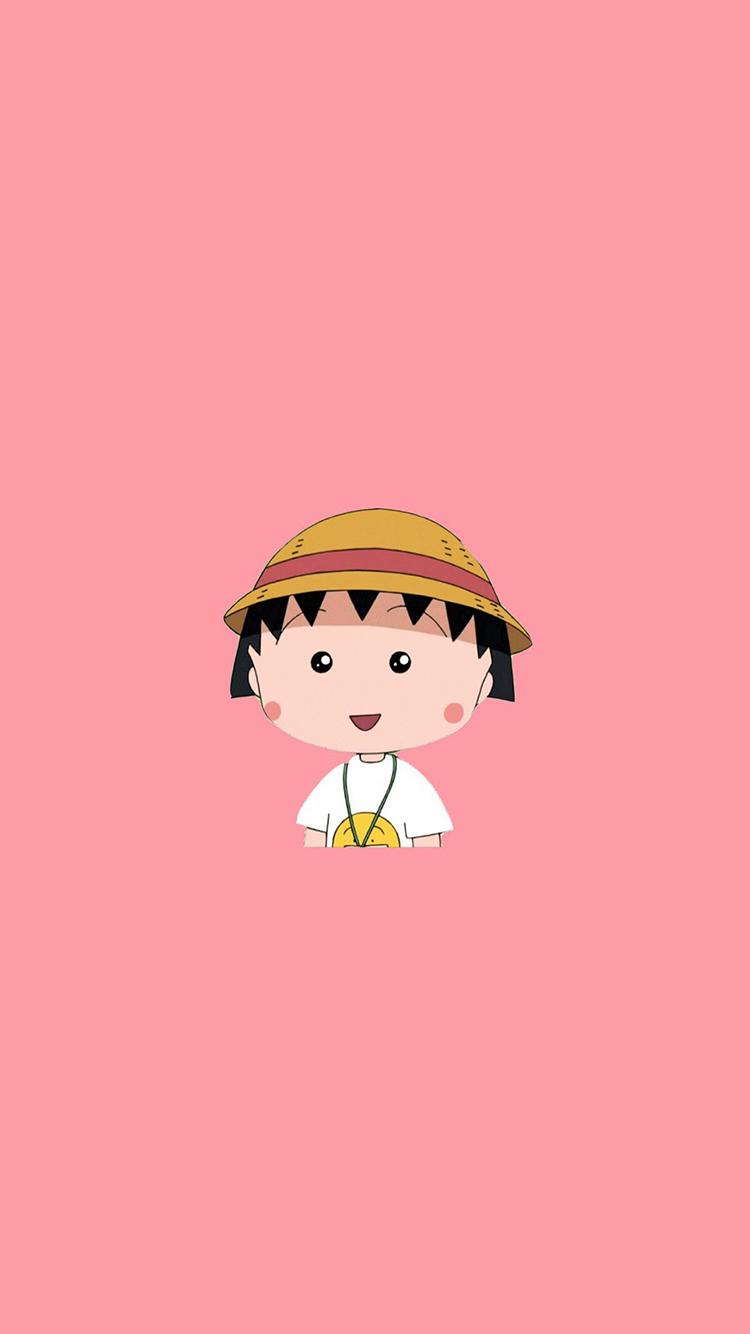 樱桃小丸子 粉色 漫画 卡通 帽子 苹果手机高清壁纸 x