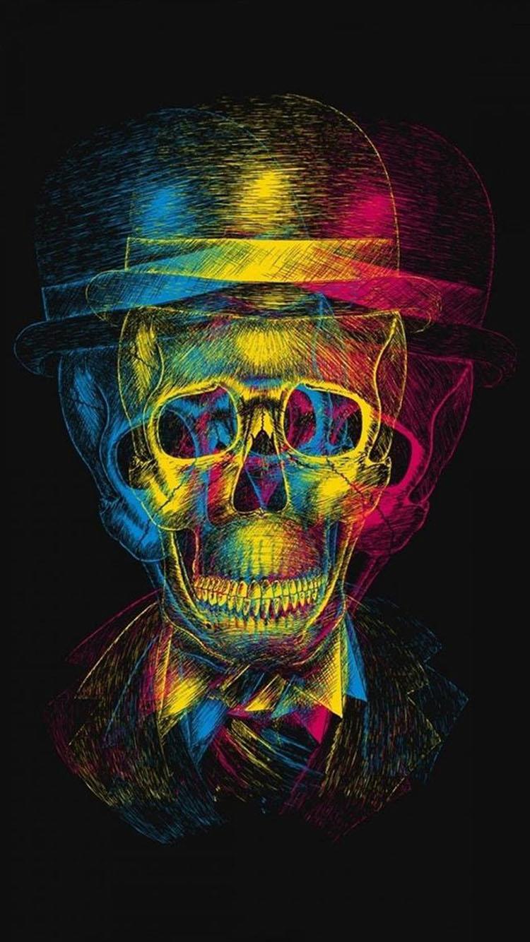 创意 抽象 骷髅头 彩色 手绘 苹果手机高清壁纸 750x