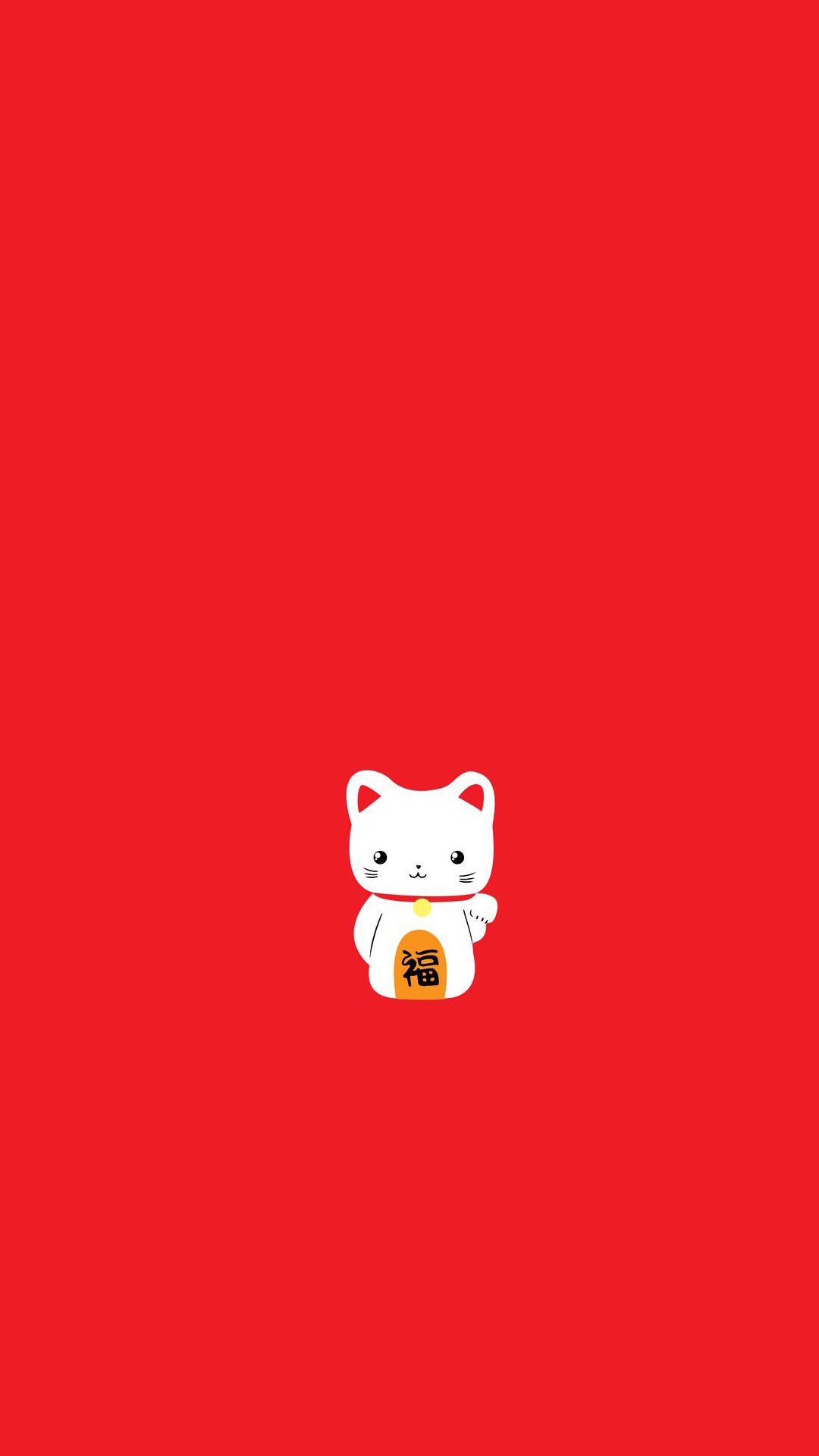 招财猫 红色 福 春节 节日 苹果手机高清壁纸 1080x