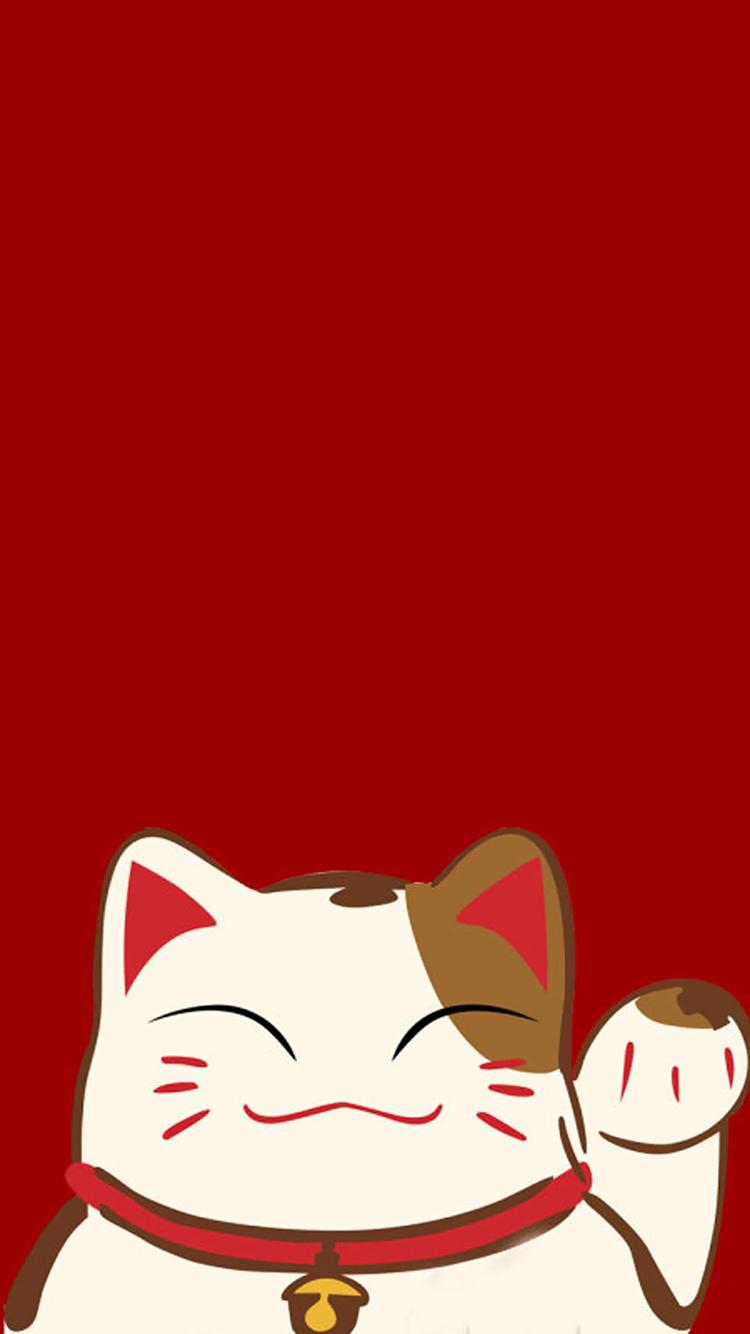 招财猫 红色 春节 新年 苹果手机高清壁纸 750x1334