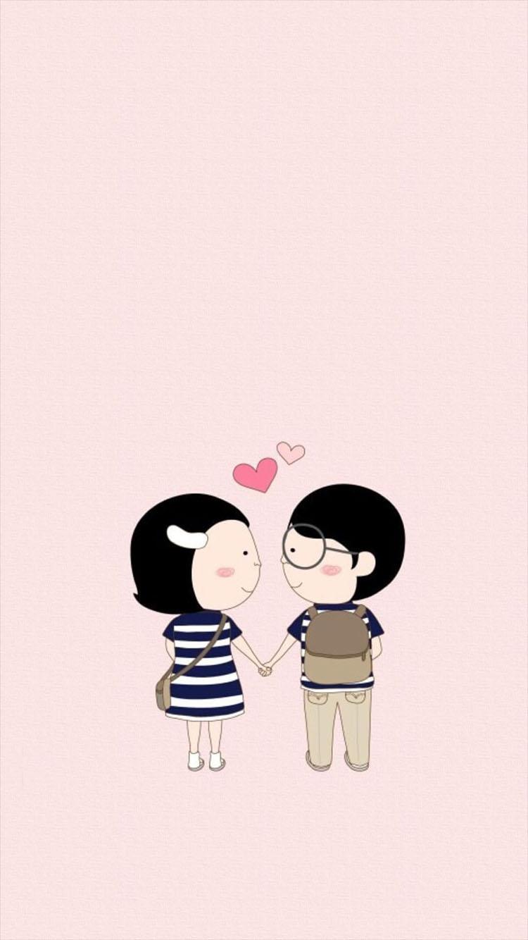 动漫 情侣 心形 爱心 爱情 苹果手机高清壁纸 750x