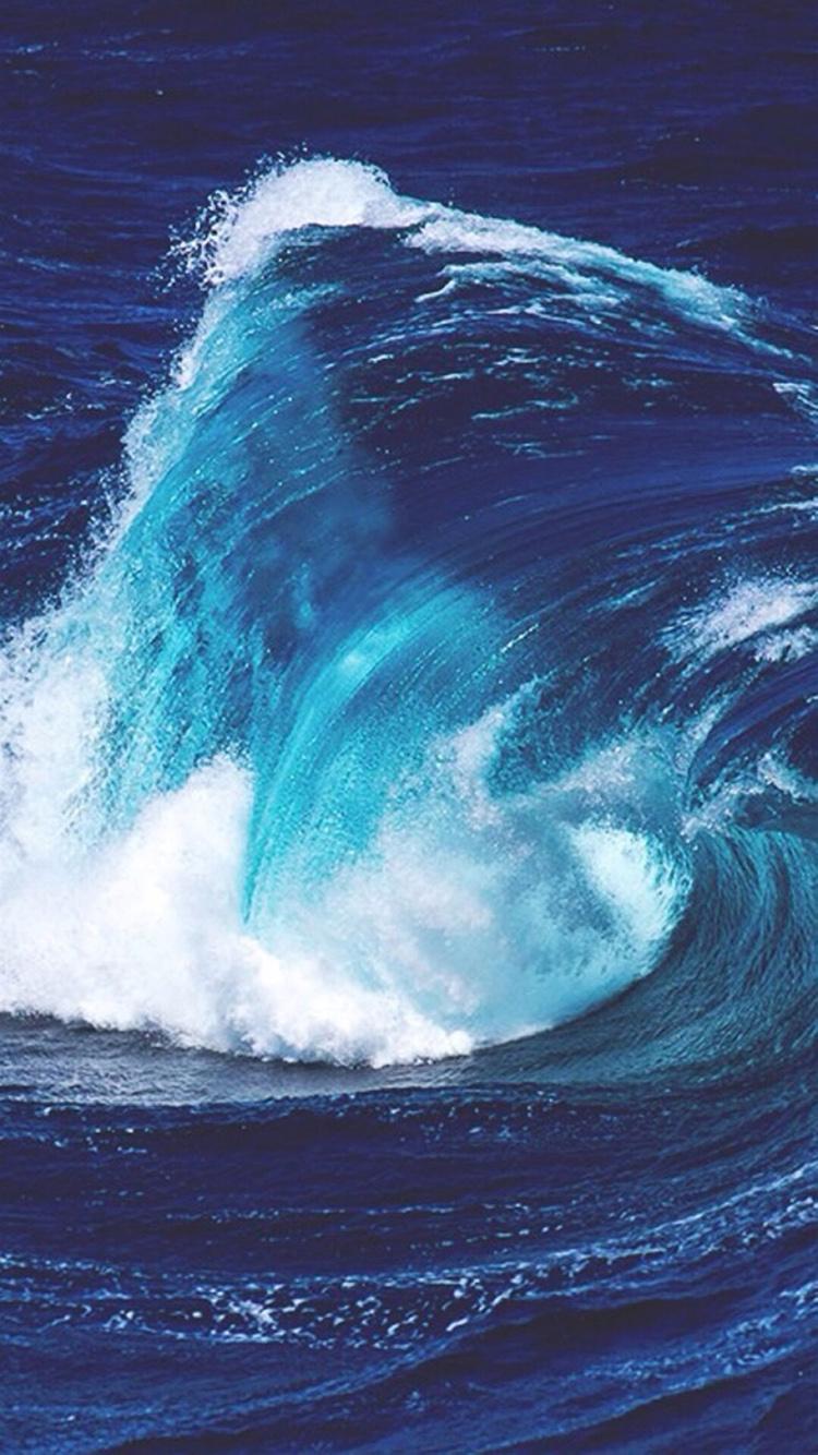 大海 海浪 海水 翻滚 苹果手机高清壁纸 750x1334