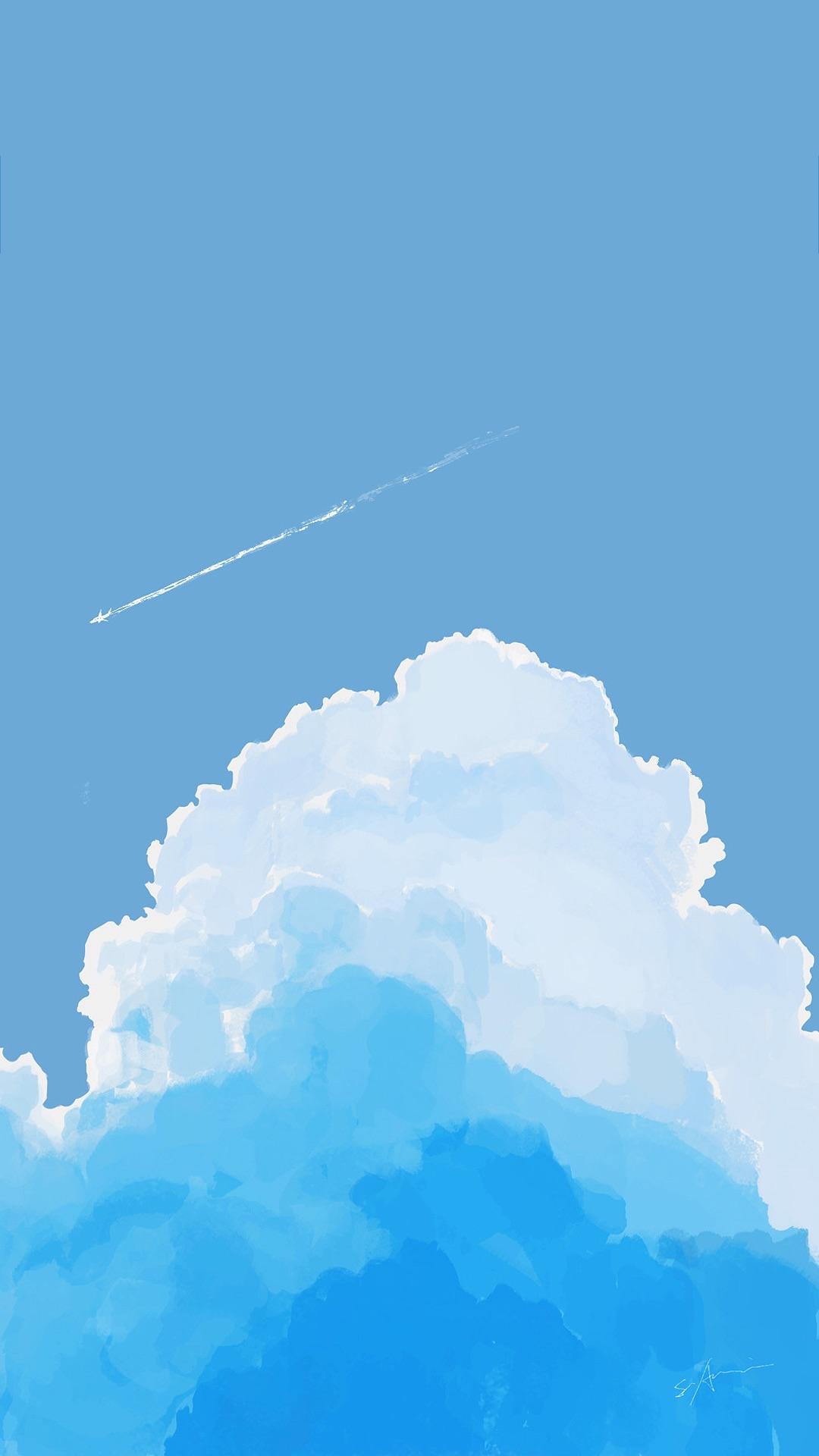 蓝天白云简笔画 手绘