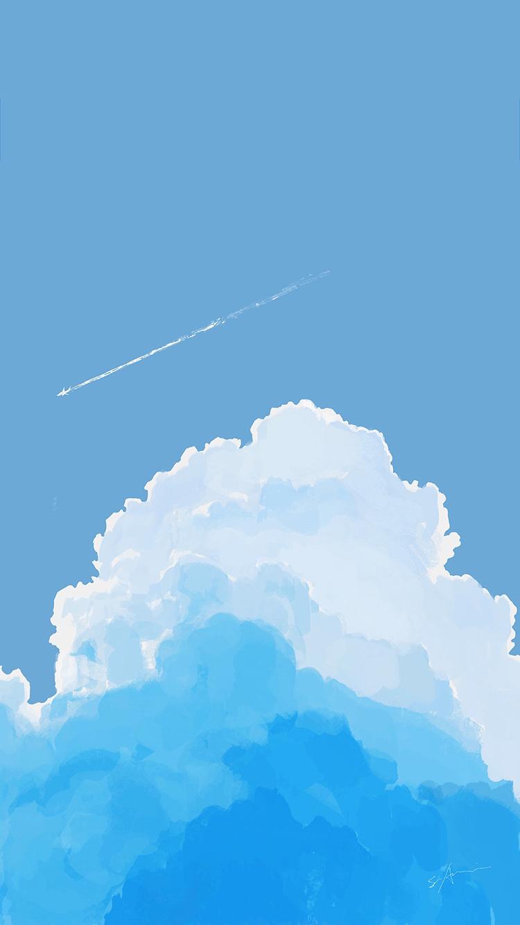 简笔画蓝天白云 手绘