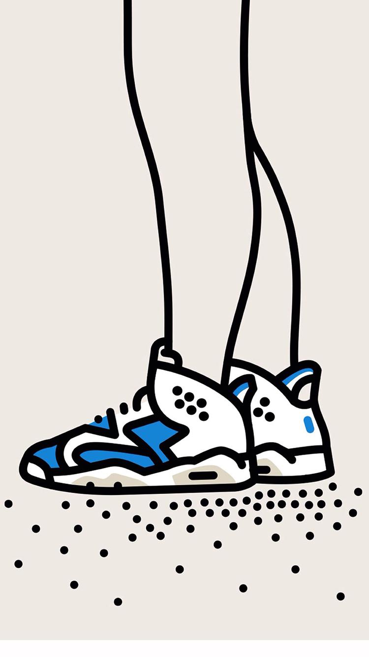 手绘aj 球鞋 创意 苹果手机高清壁纸 750x1334 - 足球