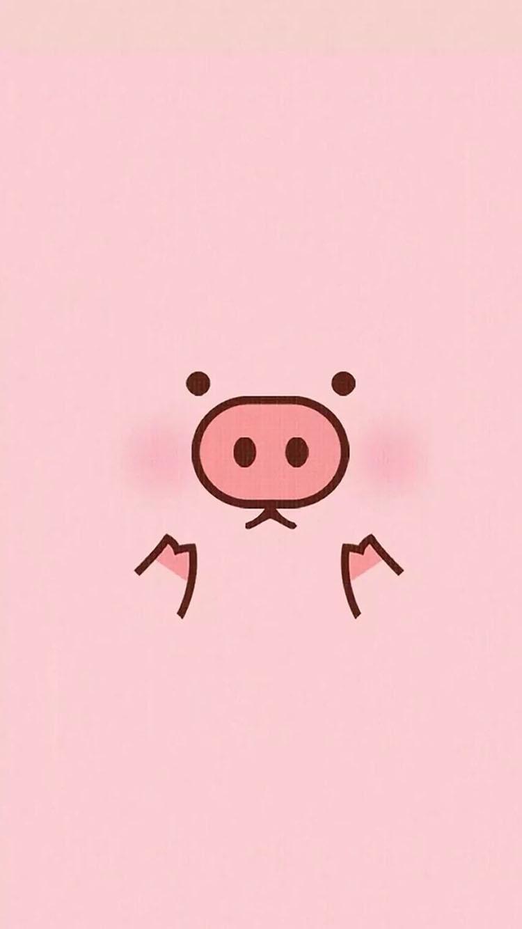 可爱卡通小猪粉色系小清新 苹果手机高清壁纸 750x