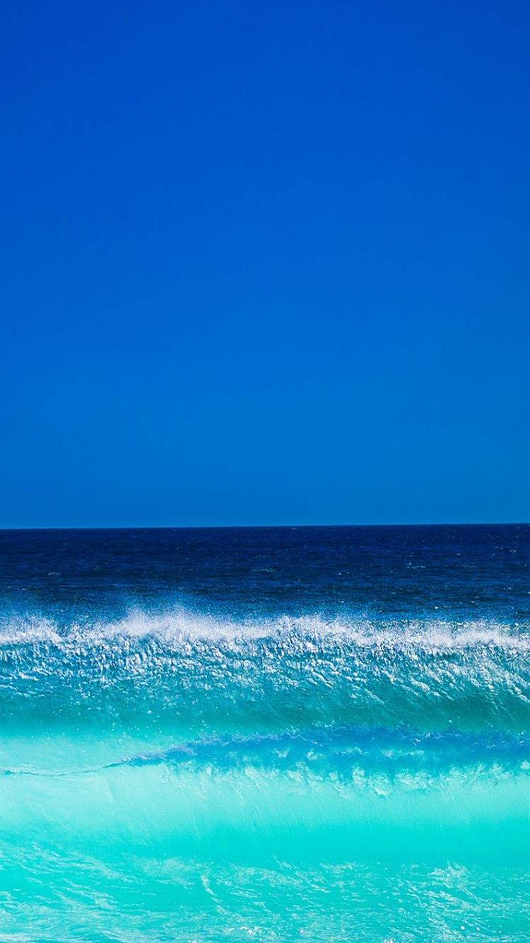 海水 蓝天 大海 海浪 苹果手机高清壁纸 750x1334