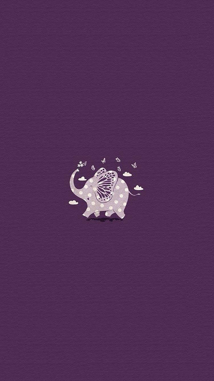可爱卡通小象紫色主题小清新 苹果手机高清壁纸 750x