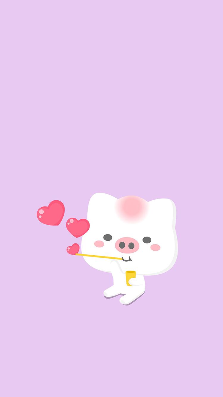 小猪 爱心 爱情 粉色 可爱 吹泡泡 苹果手机高清壁纸