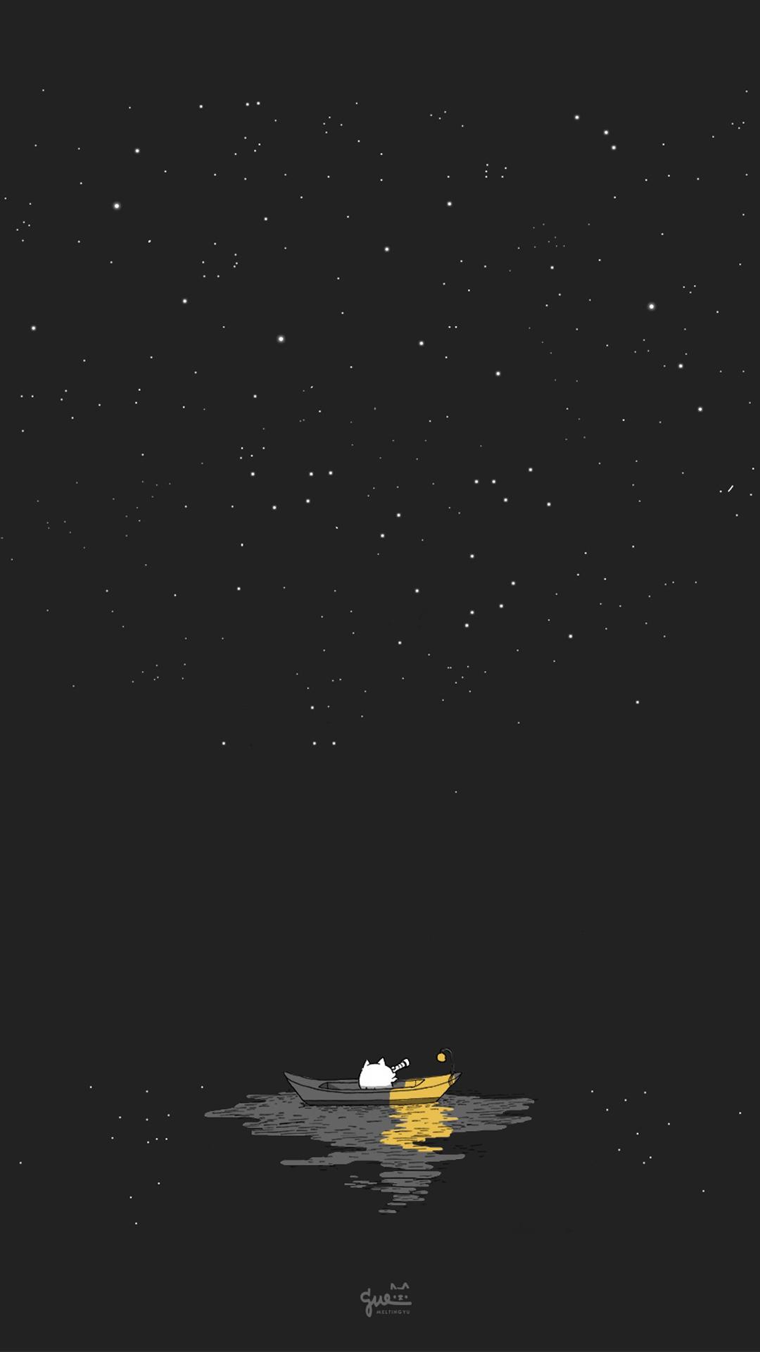 插畫 手繪 夜空 星空 船 黑色 蘋果手機高清壁紙 1080