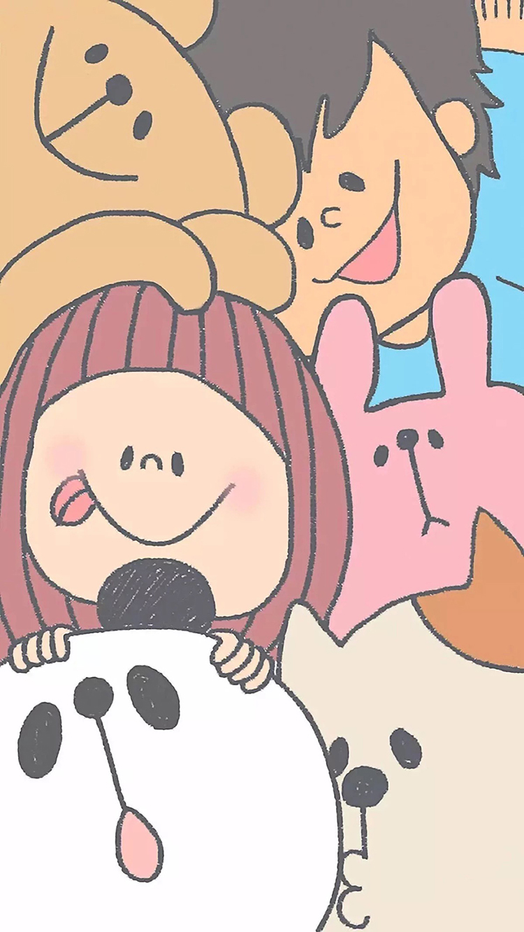 童趣 可爱 卡通 动物 儿童 苹果手机高清壁纸 750x