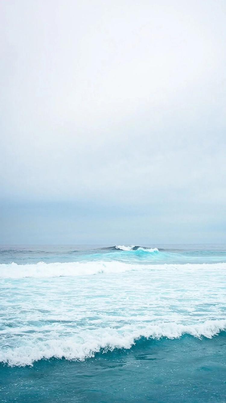 海浪 大海 海滩 蓝色 天空 唯美 苹果手机高清壁纸 x