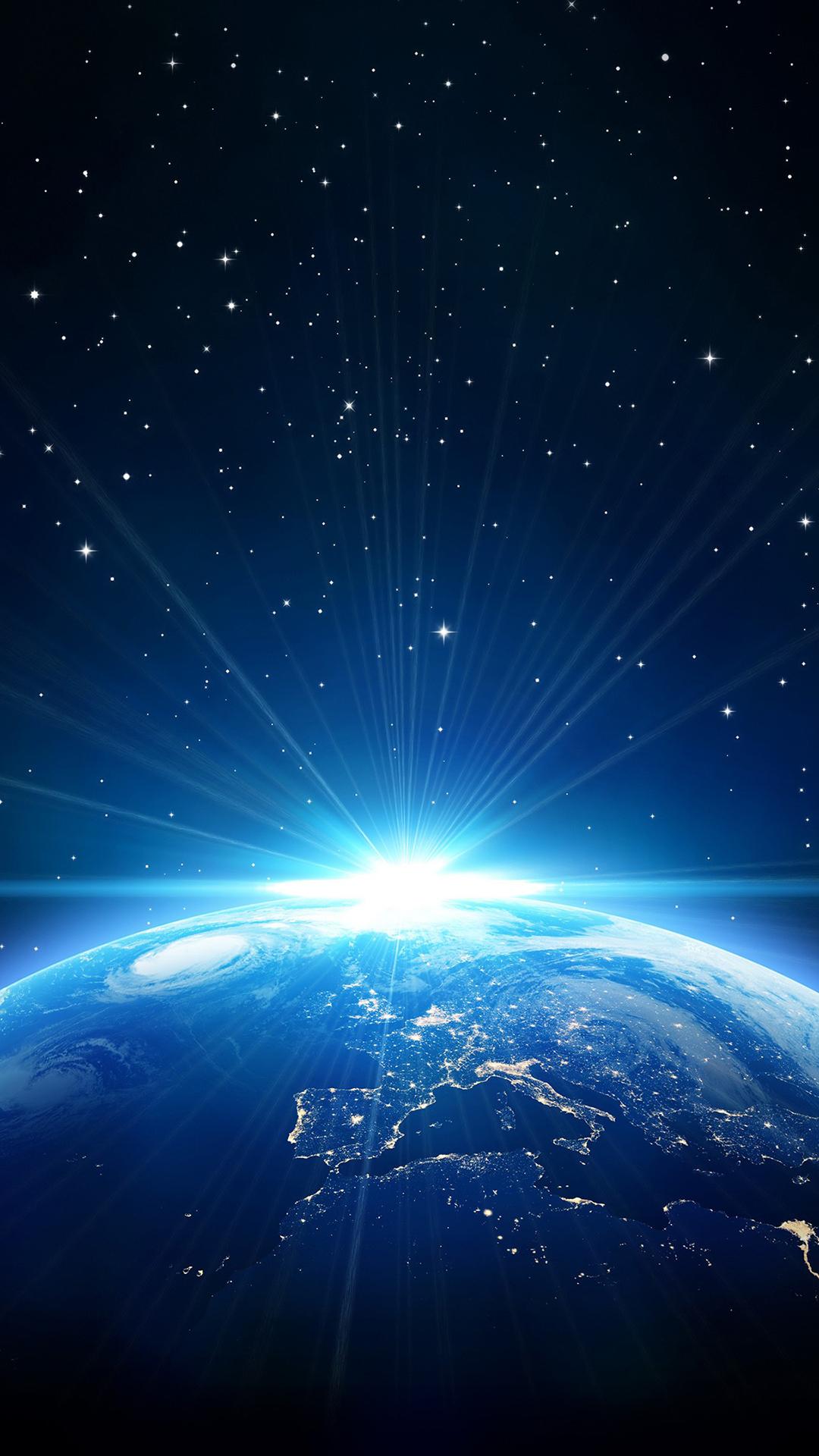 地球 星球 光 藍色 夢幻 太空 宇宙 蘋果手機高清壁紙