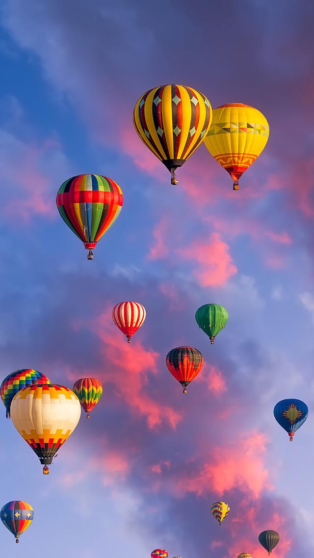 热气球 风景 天空 火烧云 苹果手机高清壁纸 640x1136