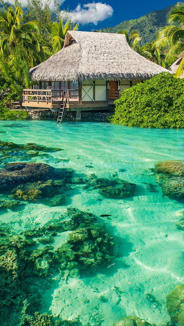度假 唯美风景 海水清澈 苹果手机高清壁纸 640x1136