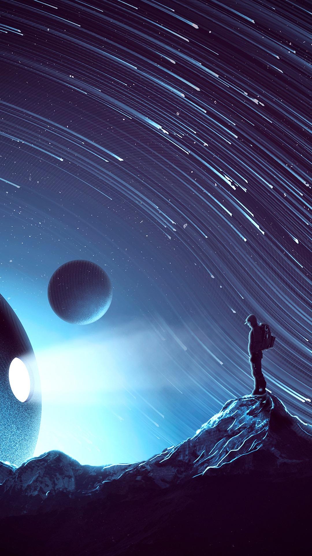 宇宙 星空 流星 蓝色 星球 太空 苹果手机高清壁纸 x