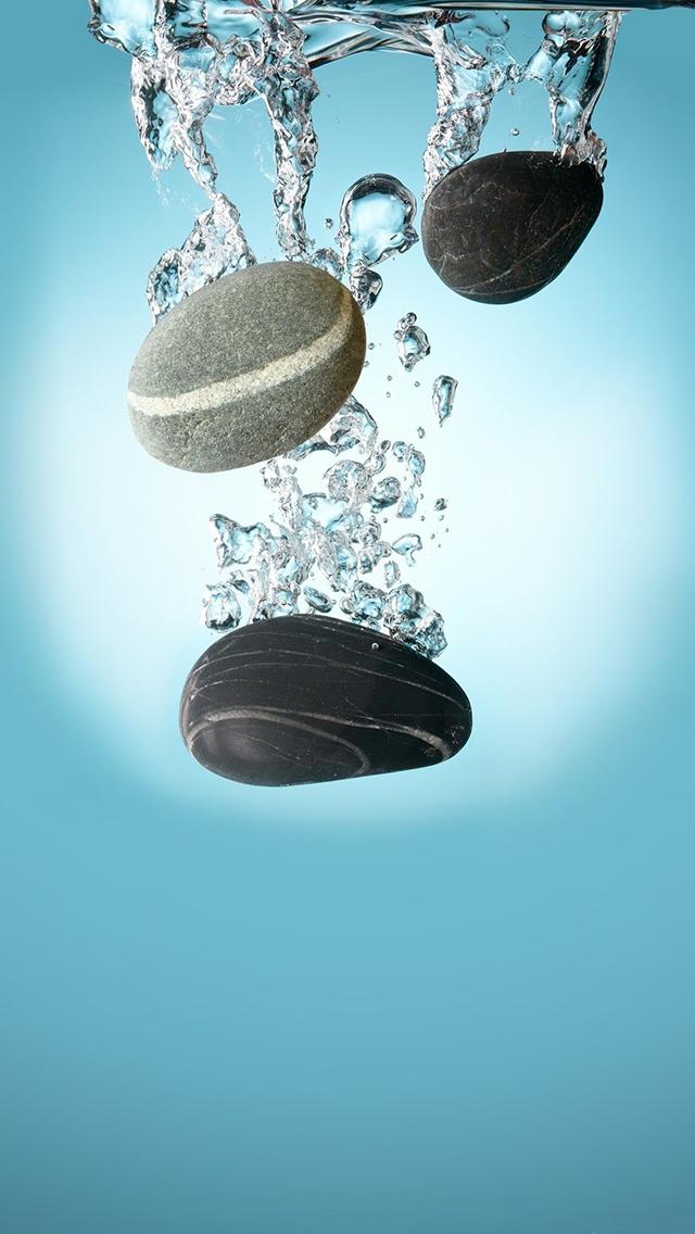 石头 海水 气泡 蓝色 苹果手机高清壁纸 640x1136