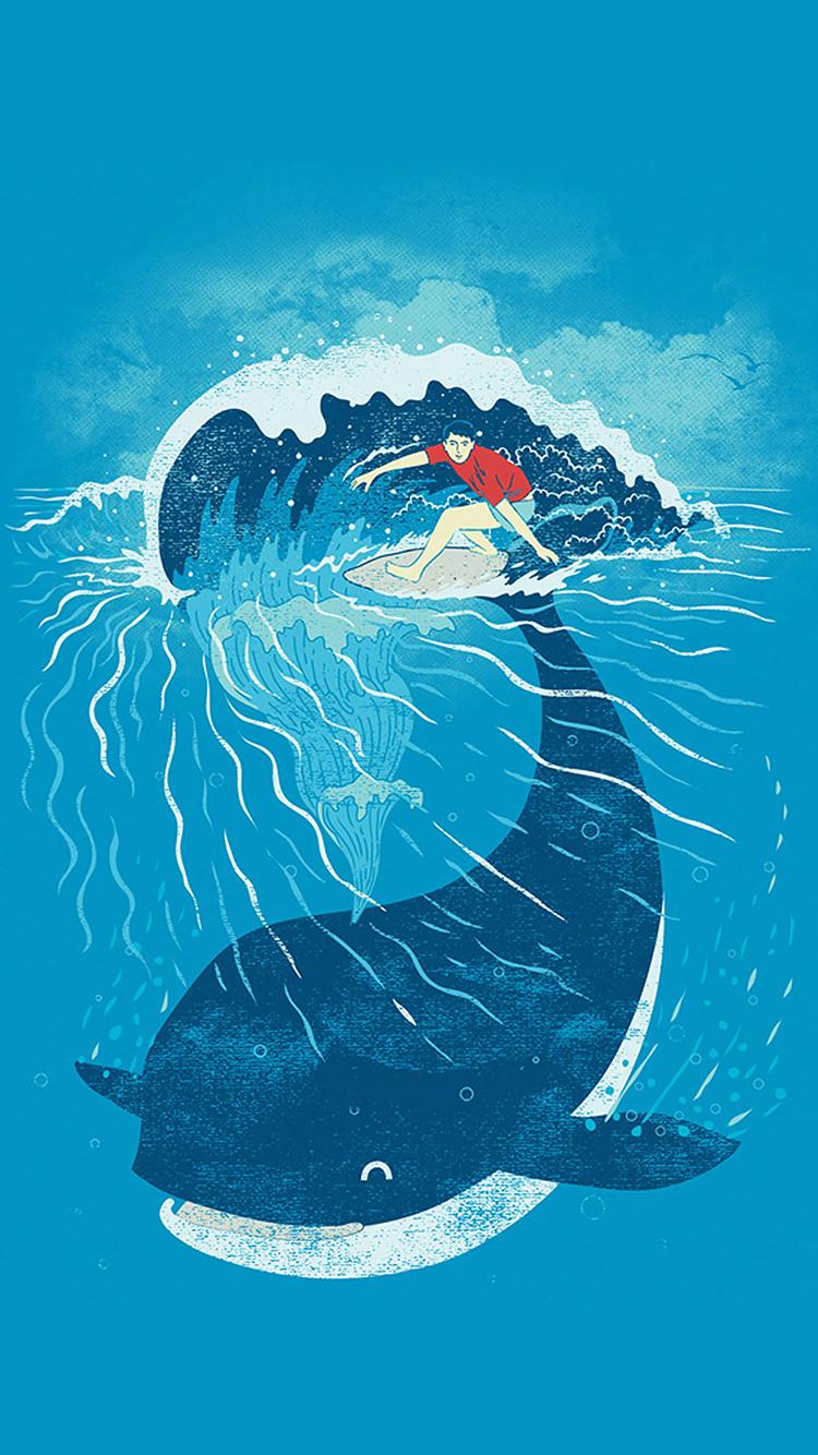 鲸鱼 海洋生物 大海 手绘 创意 苹果手机高清壁纸 750