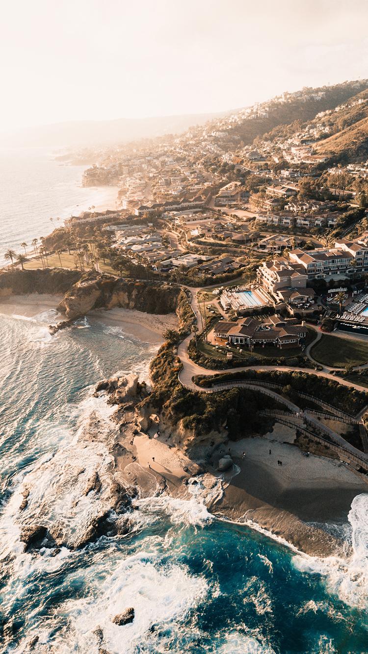 海岛 大海 海岸 海浪 住宅 海景 苹果手机高清壁纸 x
