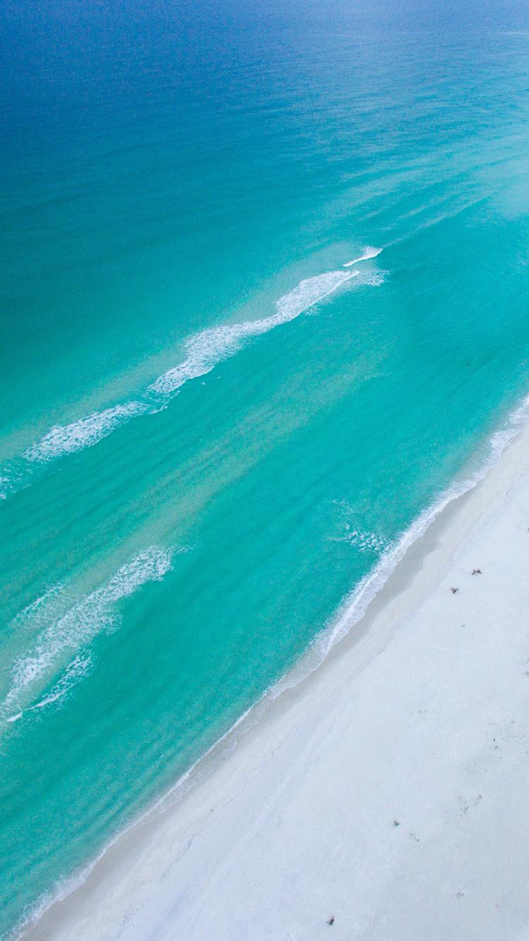 沙滩 海浪 大海 蔚蓝 苹果手机高清壁纸 750x1334