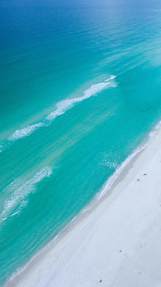 沙滩 海浪 大海 蔚蓝 苹果手机高清壁纸 640x1136
