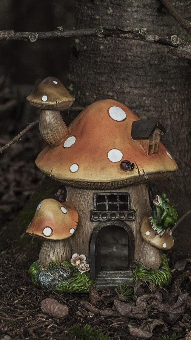 房子 神奇 蘑菇 森林 蘑菇屋 苹果手机高清壁纸 640x