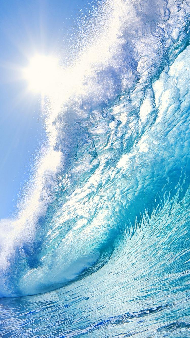 海浪 大海 阳光 海水 浪花 苹果手机高清壁纸 750x