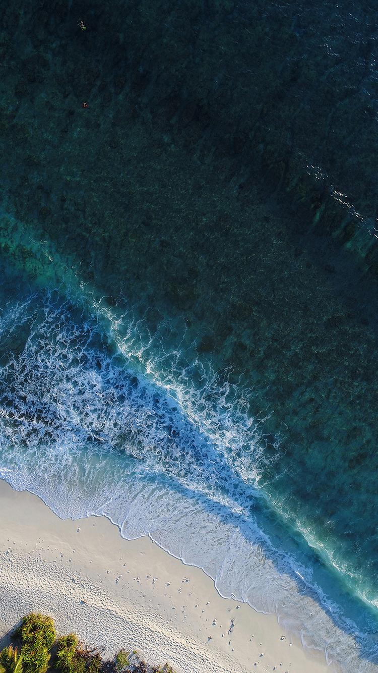 大海 海浪 海滩 沙滩 苹果手机高清壁纸 750x1334