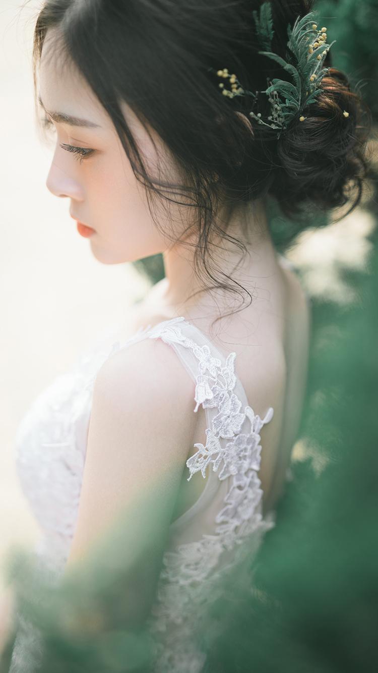 清新美女侧颜 森系艺术照 苹果手机高清壁纸 750x1334