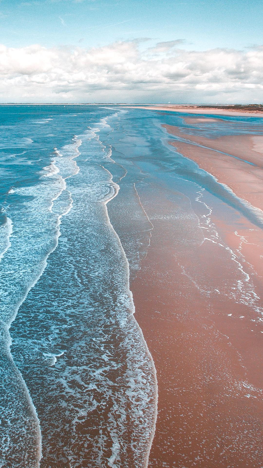 海滩 海浪 风景 海岸线 苹果手机高清壁纸 1080x1920