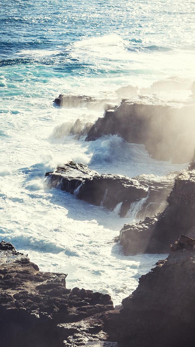 大海 海浪 海岸 海峡 阳光 苹果手机高清壁纸 640x