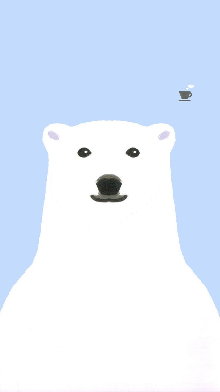 卡通 手繪 白熊 簡約 蘋果手機高清壁紙 750x1334