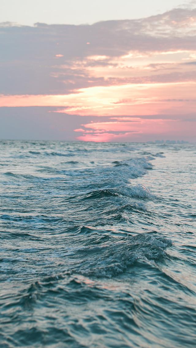 大海 海浪 落日 晚霞 苹果手机高清壁纸 640x1136