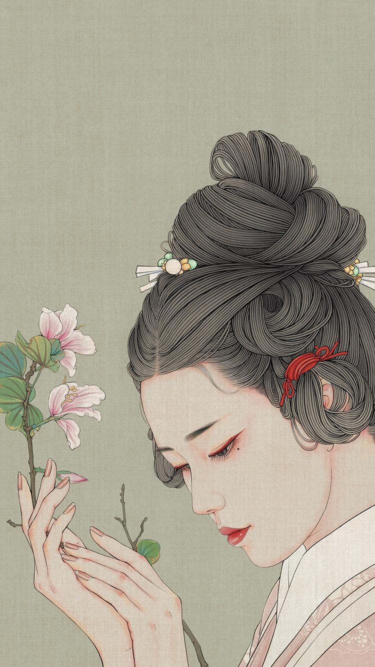 千景绘 作品 古风美人 侧颜 鲜花 苹果手机高清壁纸 x