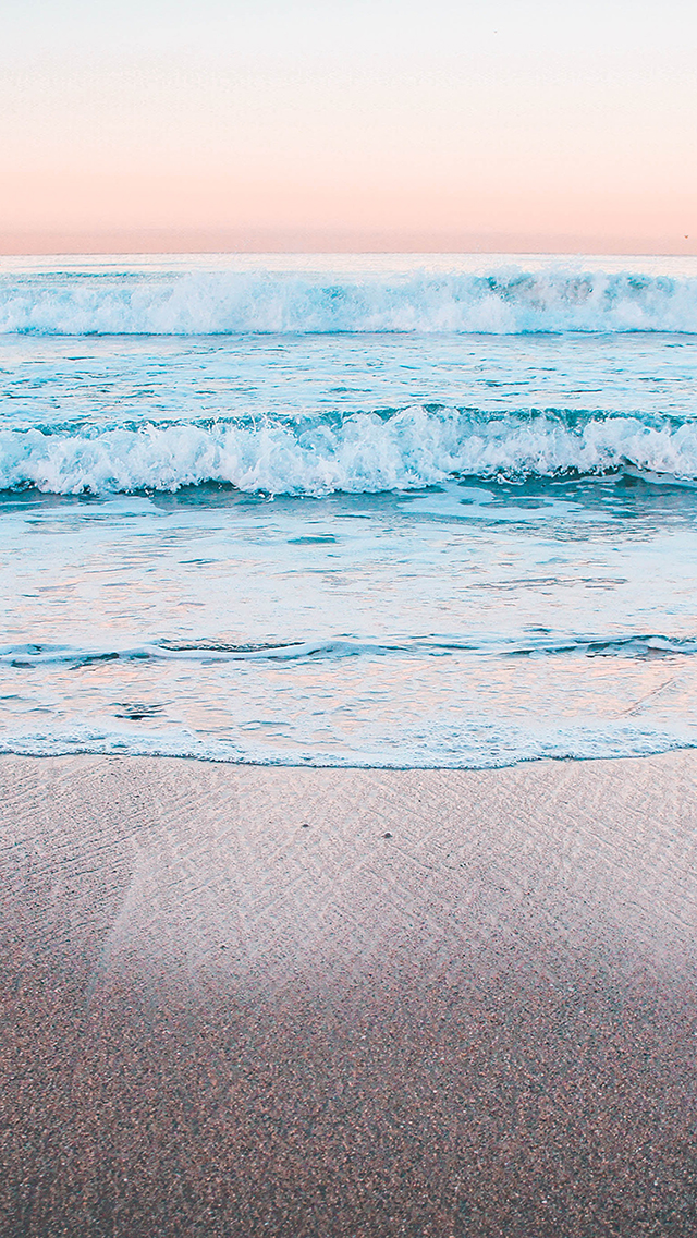 海浪 浪花 大海 沙滩 苹果手机高清壁纸 640x1136