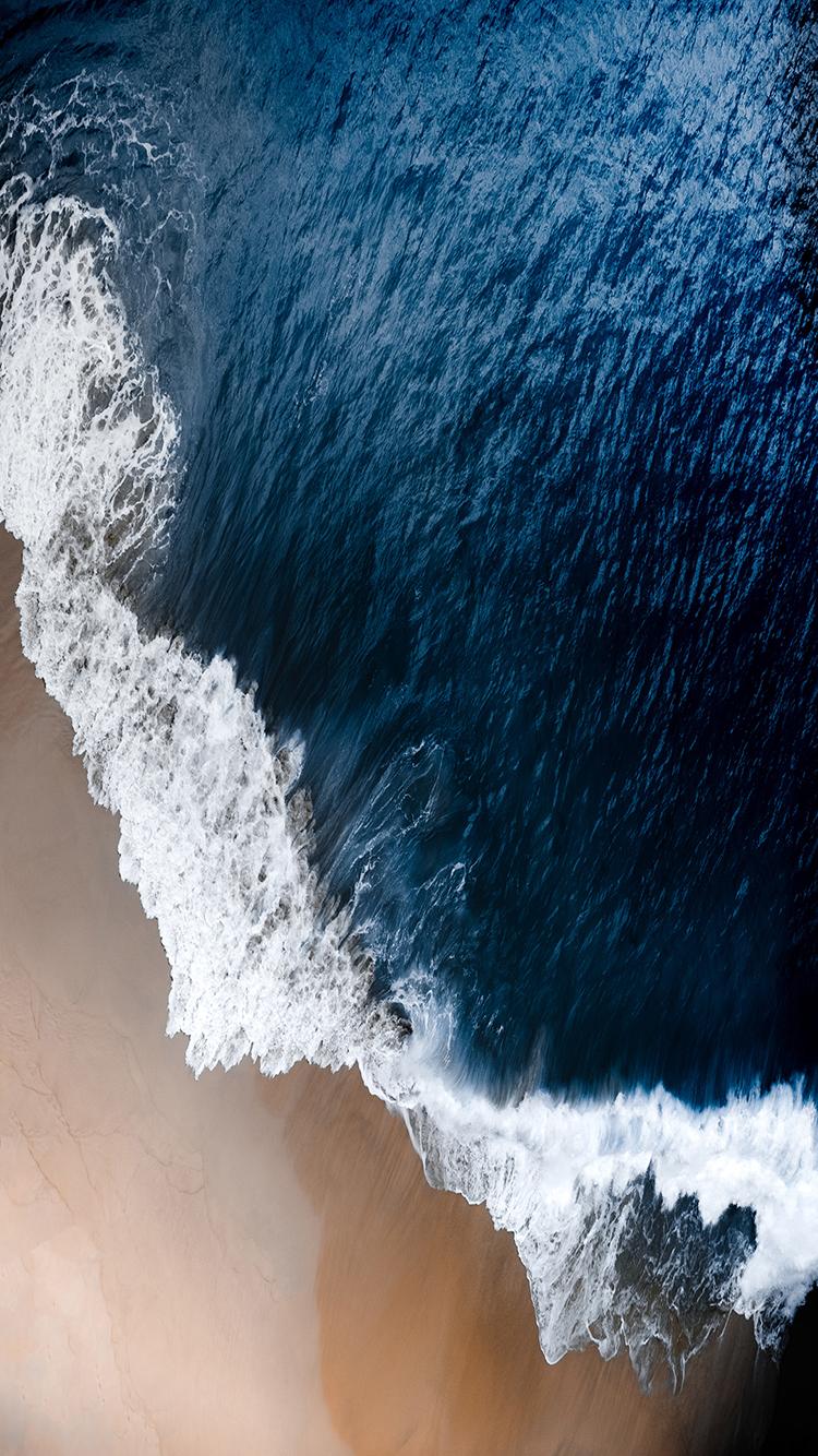 海浪 大海 沙滩 蓝色 苹果手机高清壁纸 750x1334